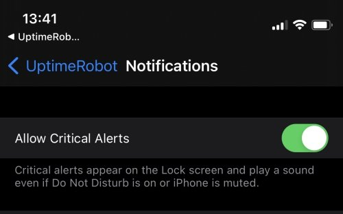 UptimeRobot supports iOS