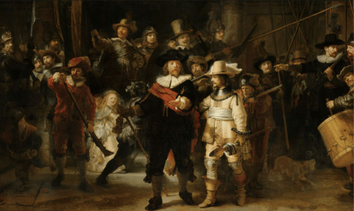 The Night Watch (De Nachtwacht), Rembrandt van Rijn, 1642 - oil on canvas, h 379.5cm × w 453.5cm - rijksmuseum.nl