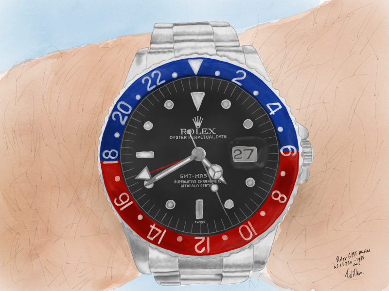 Drawing a Rolex GMT-Master using Apple Pencil on iPad Pro with the