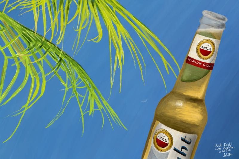 Digitally painting a cold Amstel Bright beer under a tropical palm tree on Curacao